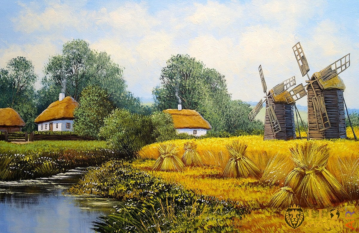Landscape with nature and rural houses, oil painting