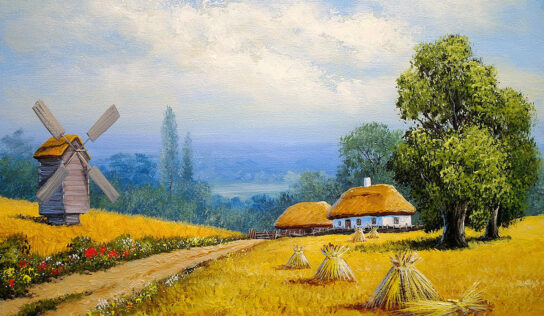 Paintings with Rural Houses in Villages