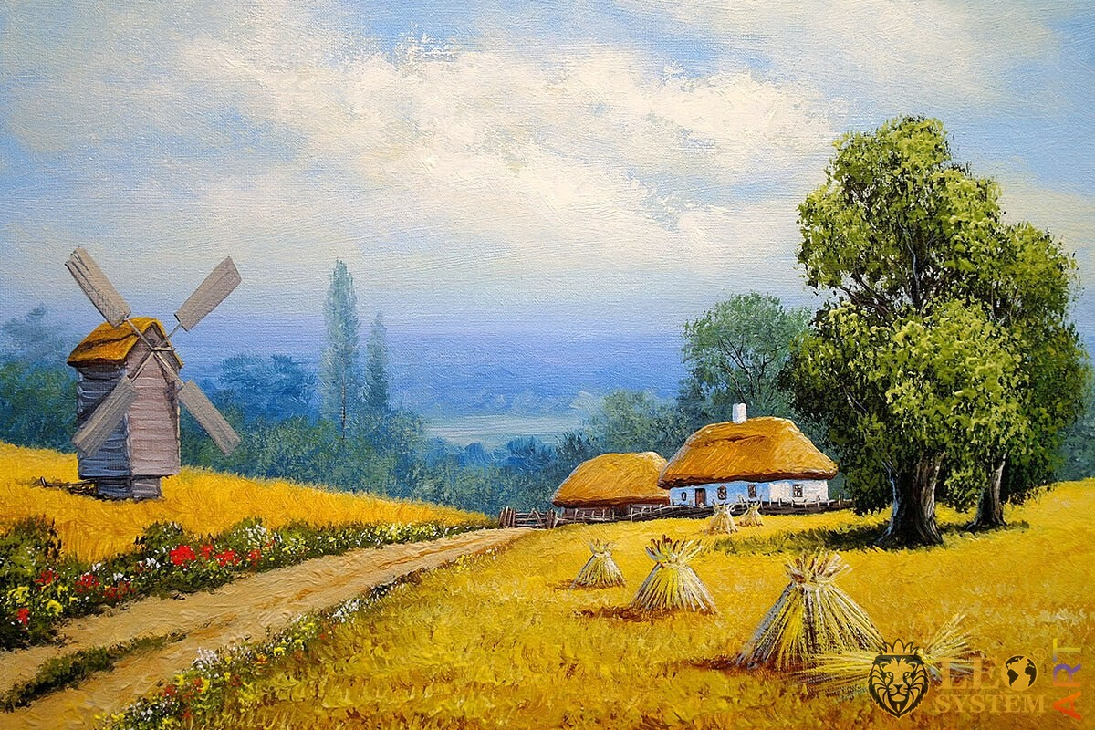 Landscape with rural houses, original oil painting