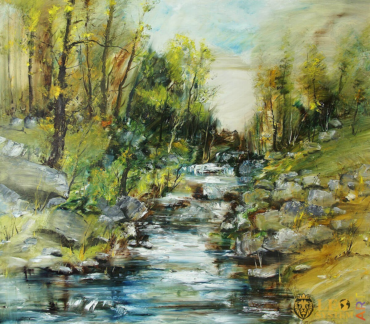 Natural landscape with fast stream and stones, oil painting