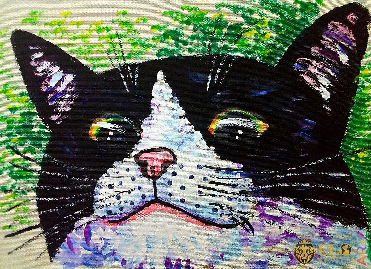 Oil painting cat face close up