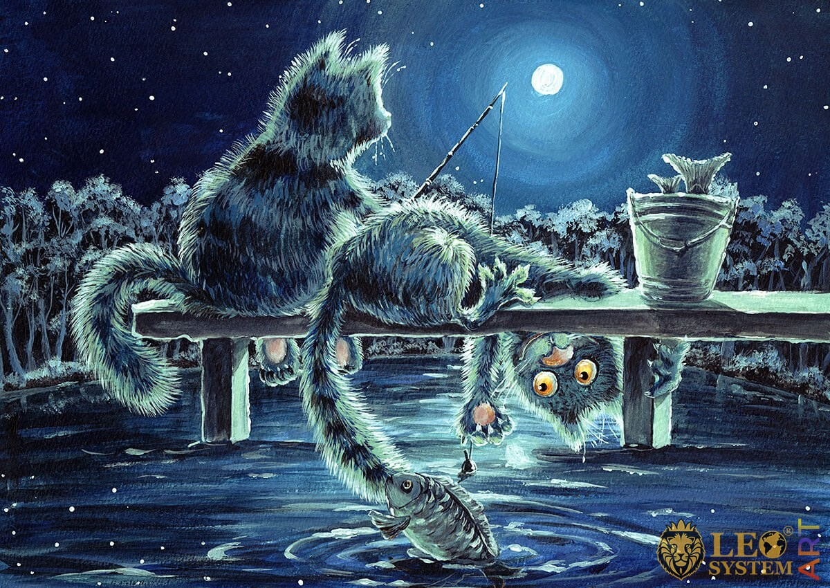 Cheerful oil painting cats fishing with a fishing rod
