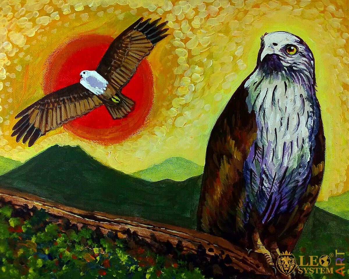 Original oil painting on canvas bird mighty eagle