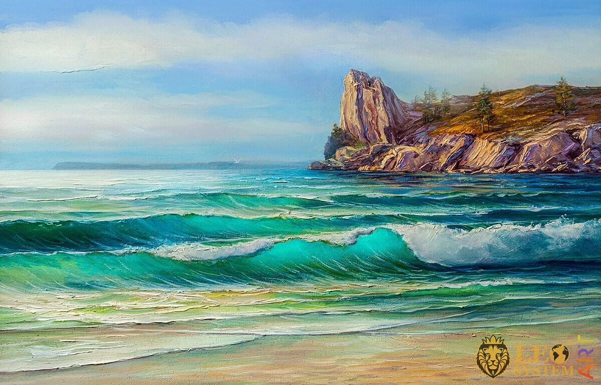 Original oil painting calm sea waves