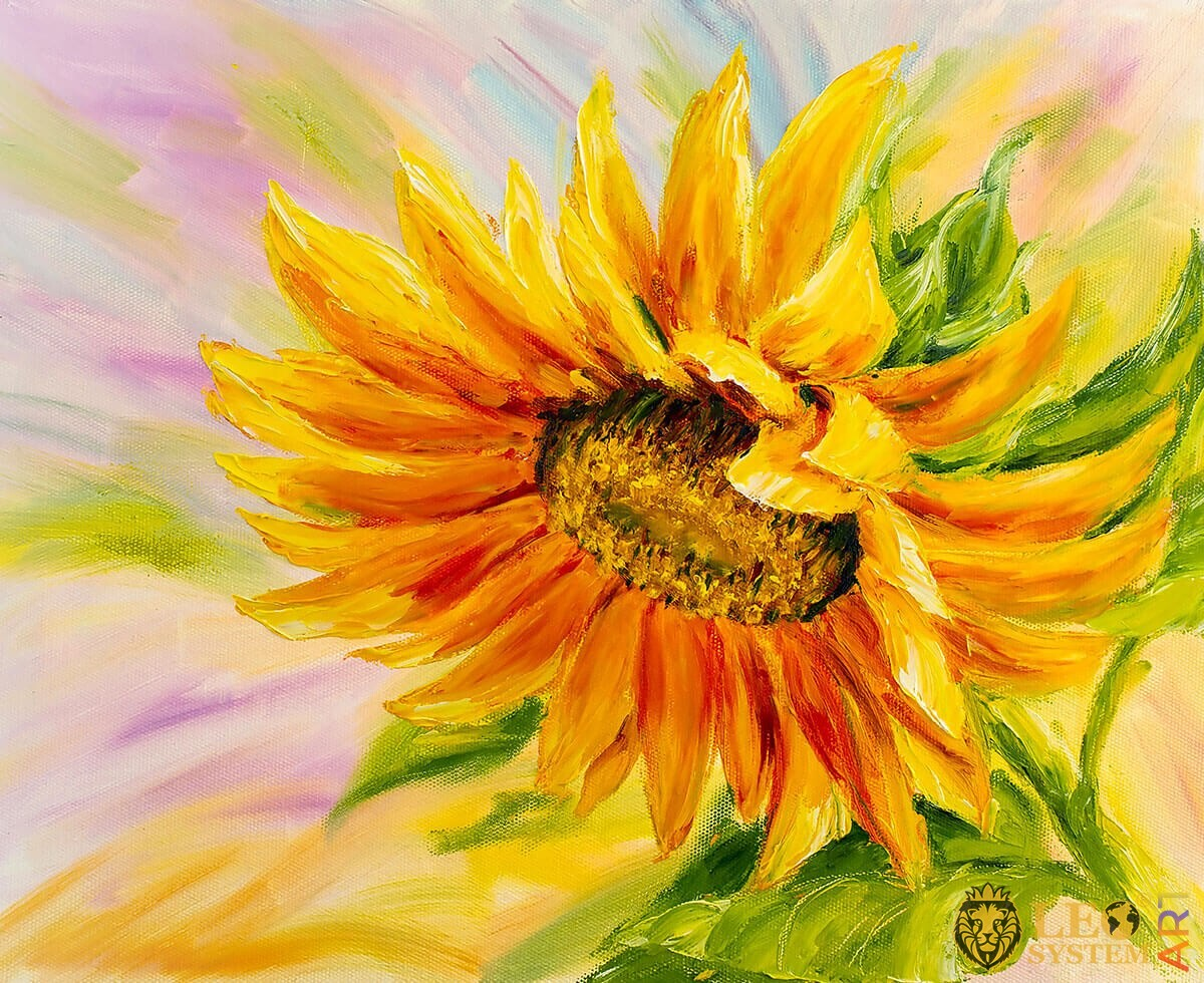 Oil painting with one yellow sunflower and seeds