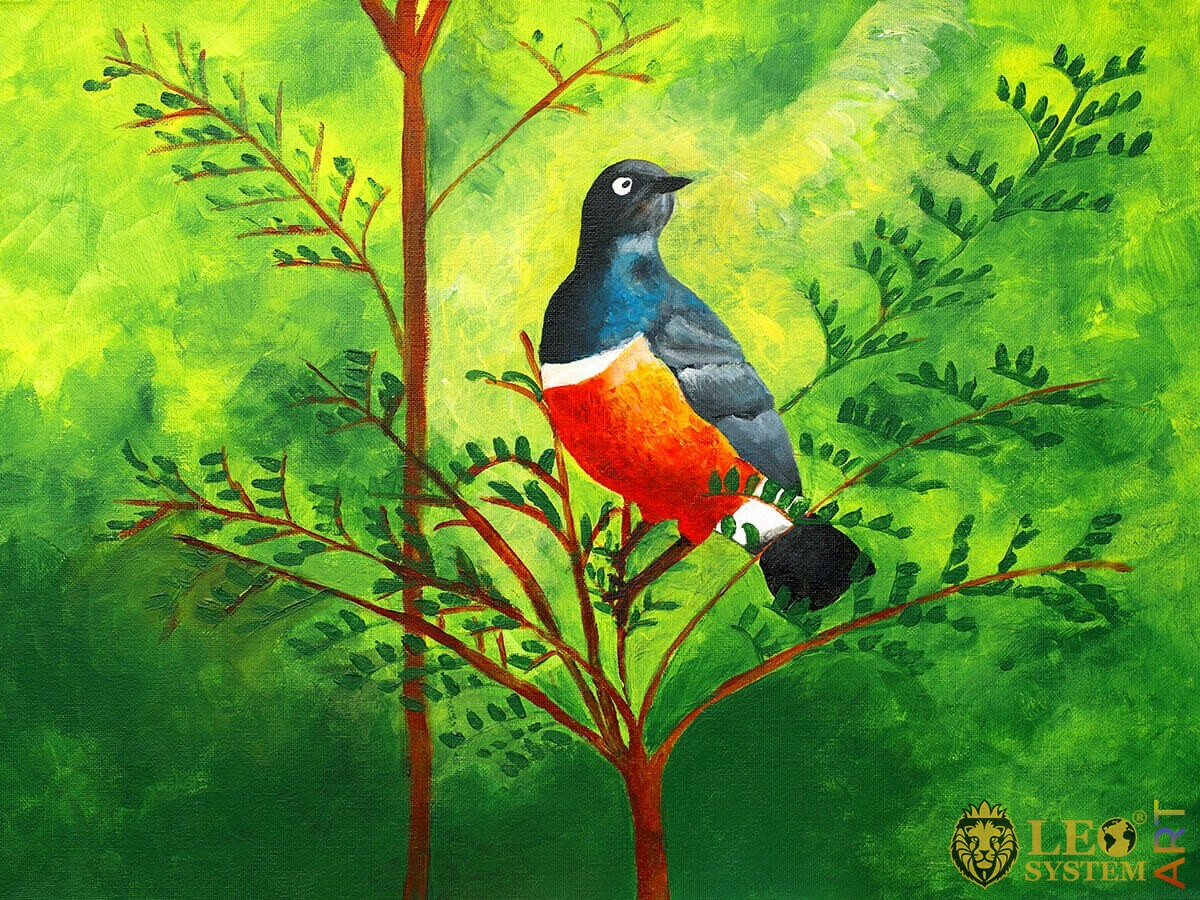Painting of a bird on a branch