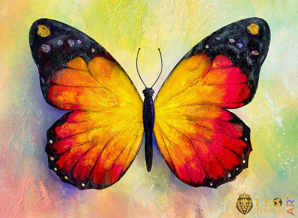 Oil painting yellow butterfly with a red tint