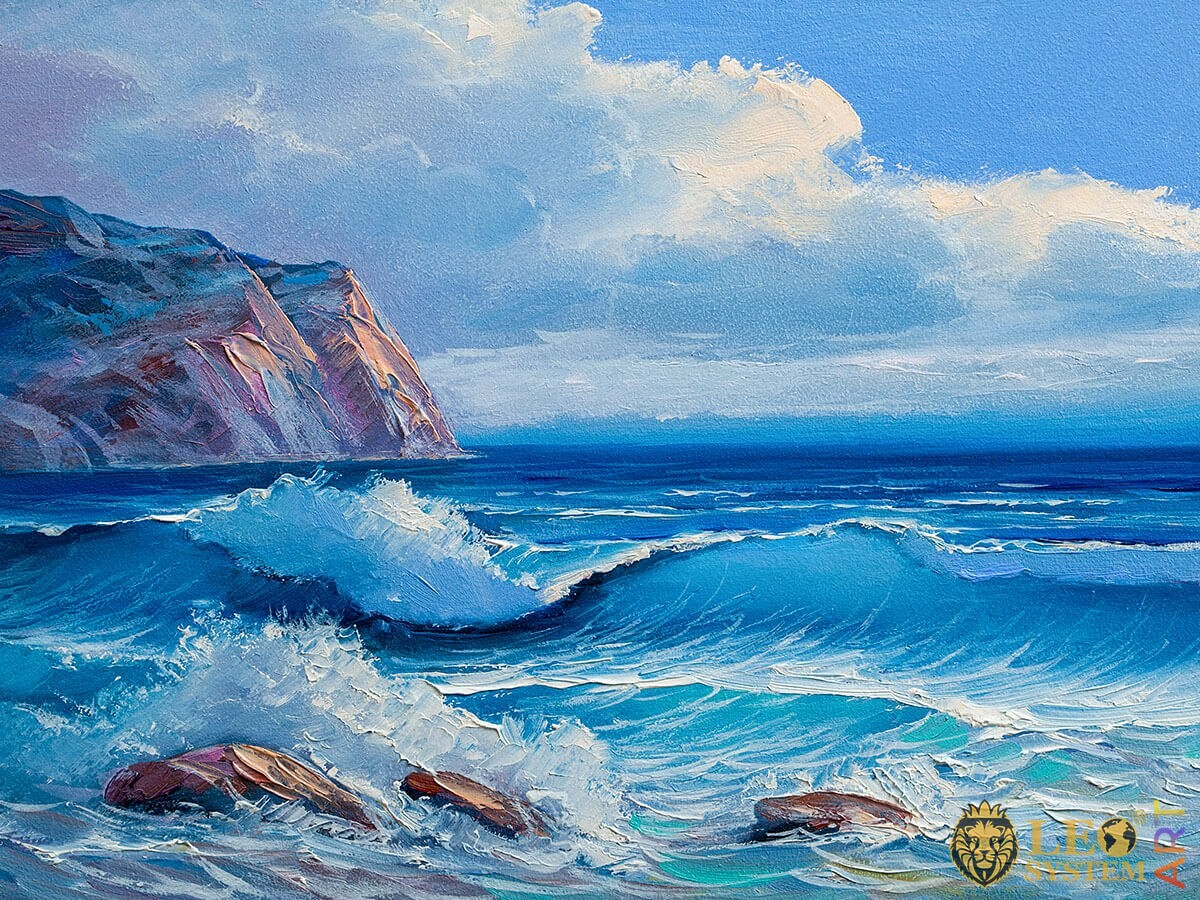 Oil painting raging waves and rocks