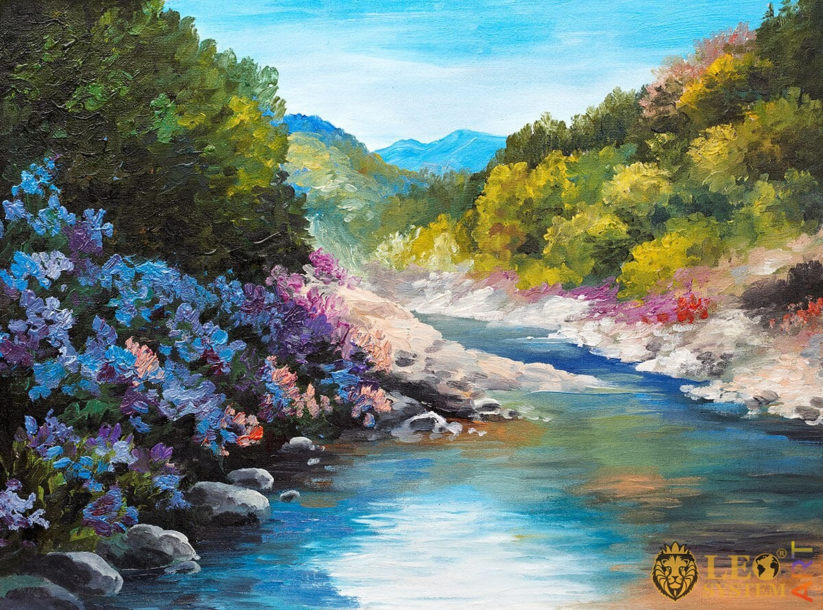 Forest, stones and river flows, original oil painting