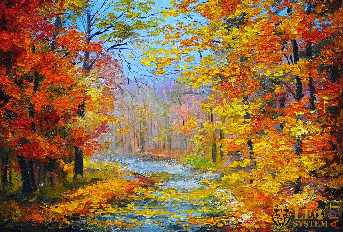 Painting with a dense forest and a stream, colorful leaves on trees