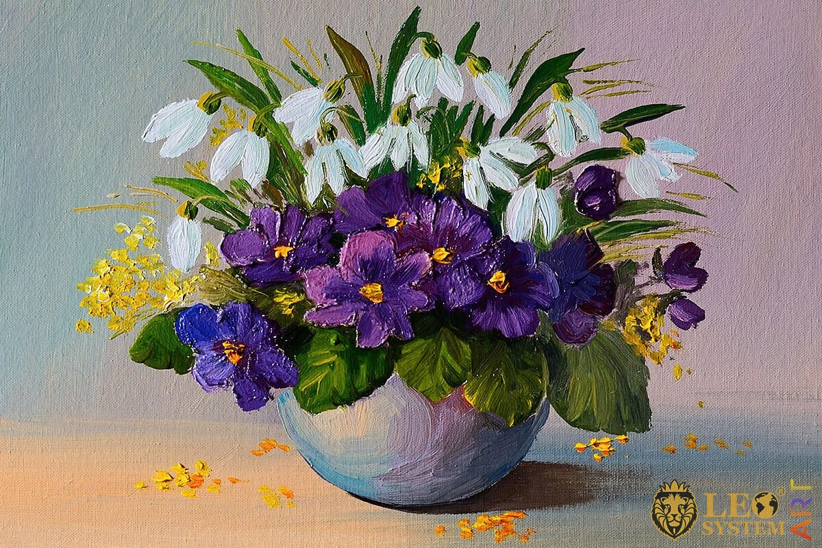 Original oil painting bouquet of different flowers in a vase