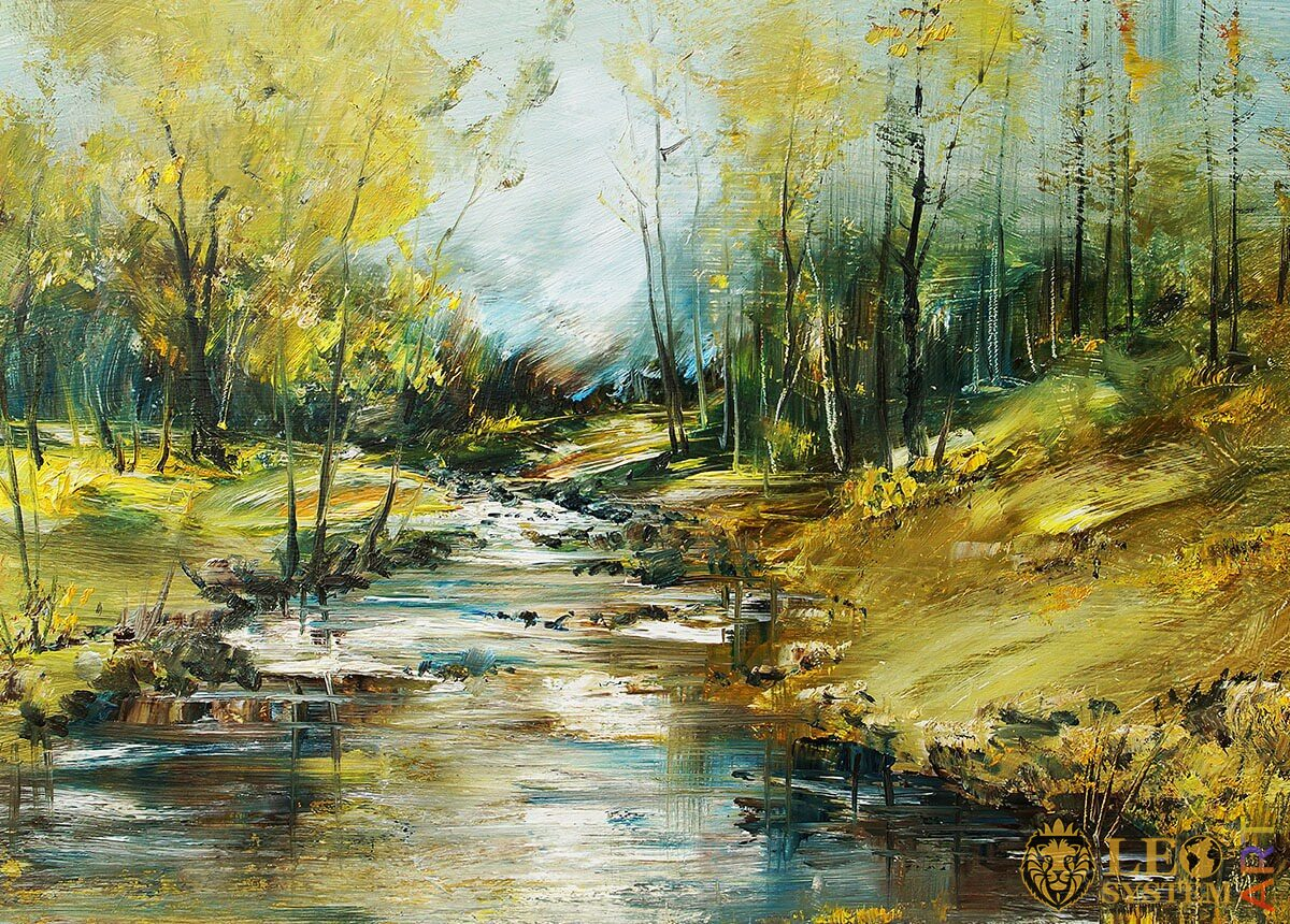 Natural landscape, running stream in the forest, original painting
