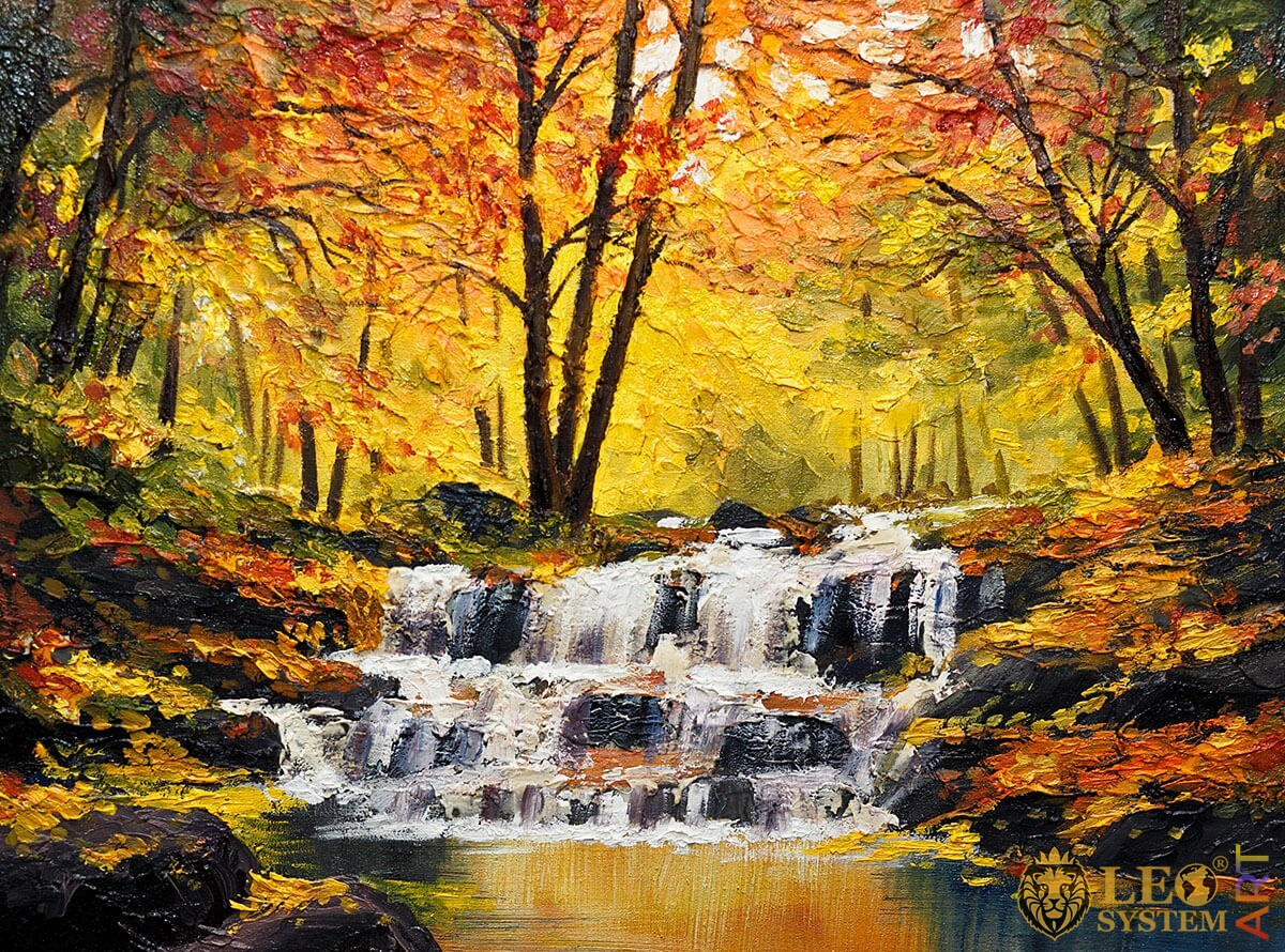Painting with murmuring streams in the forest