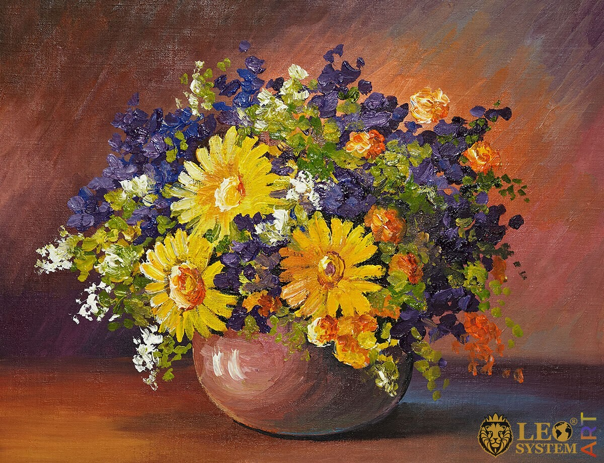 Original painting bouquet of different spring flowers