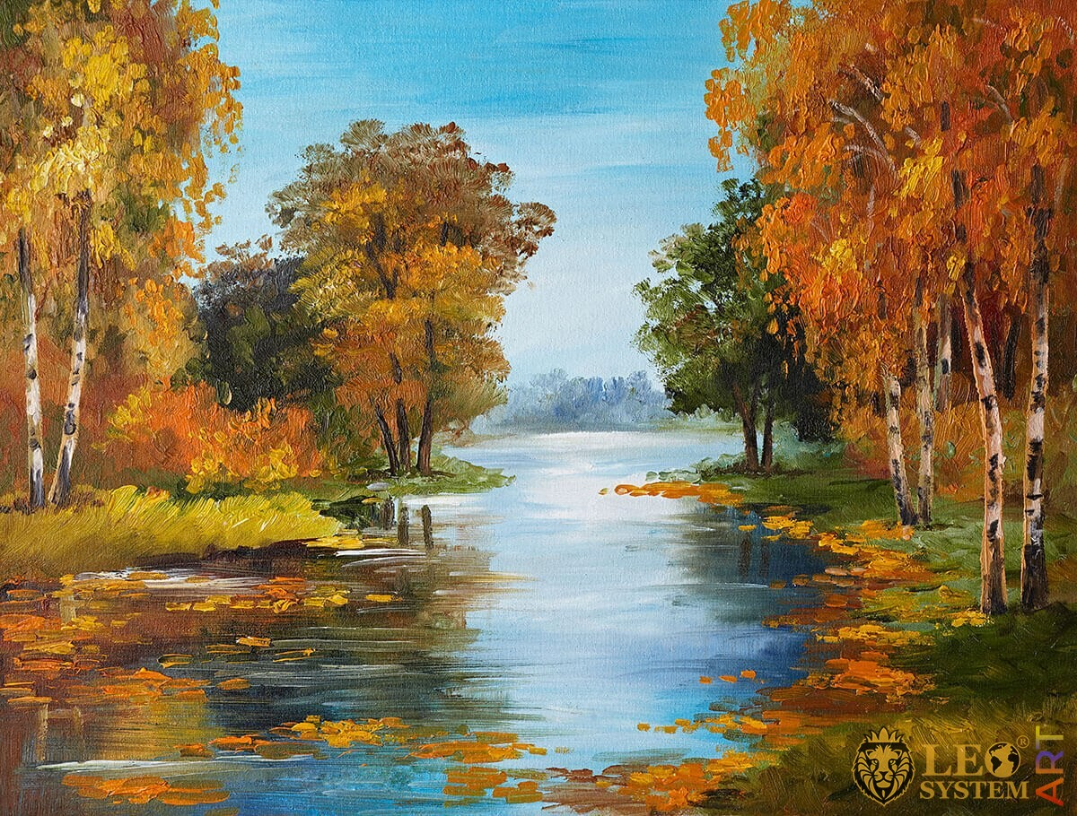 Painting with a magnificent view of the forest and the river
