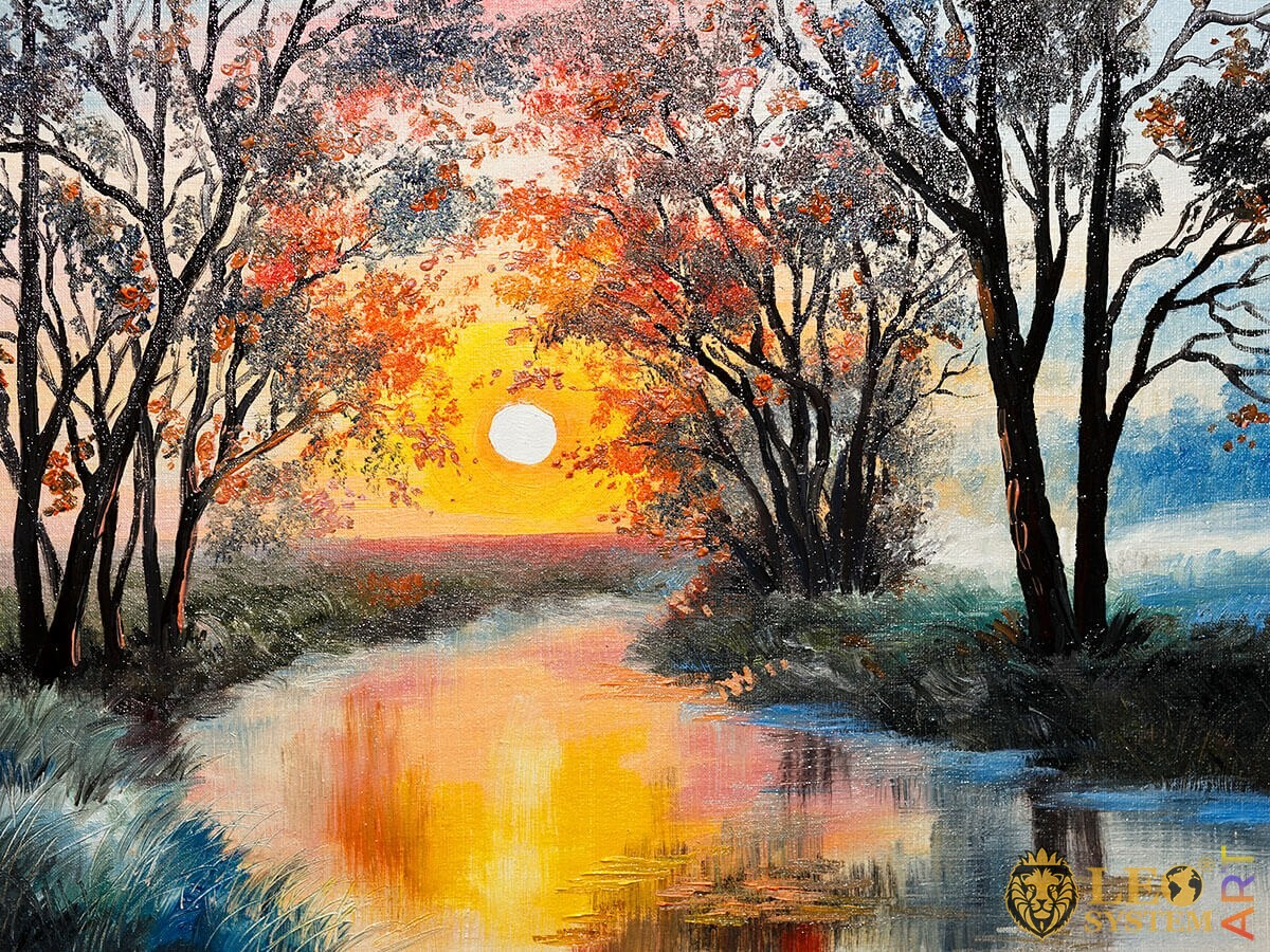Painting forest and river at sunset