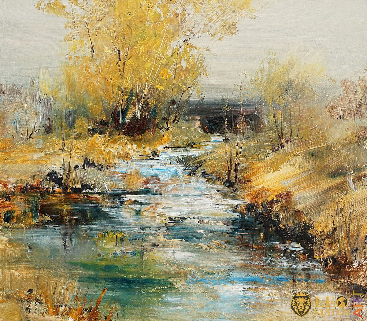 Babbling streams in the forest, original painting