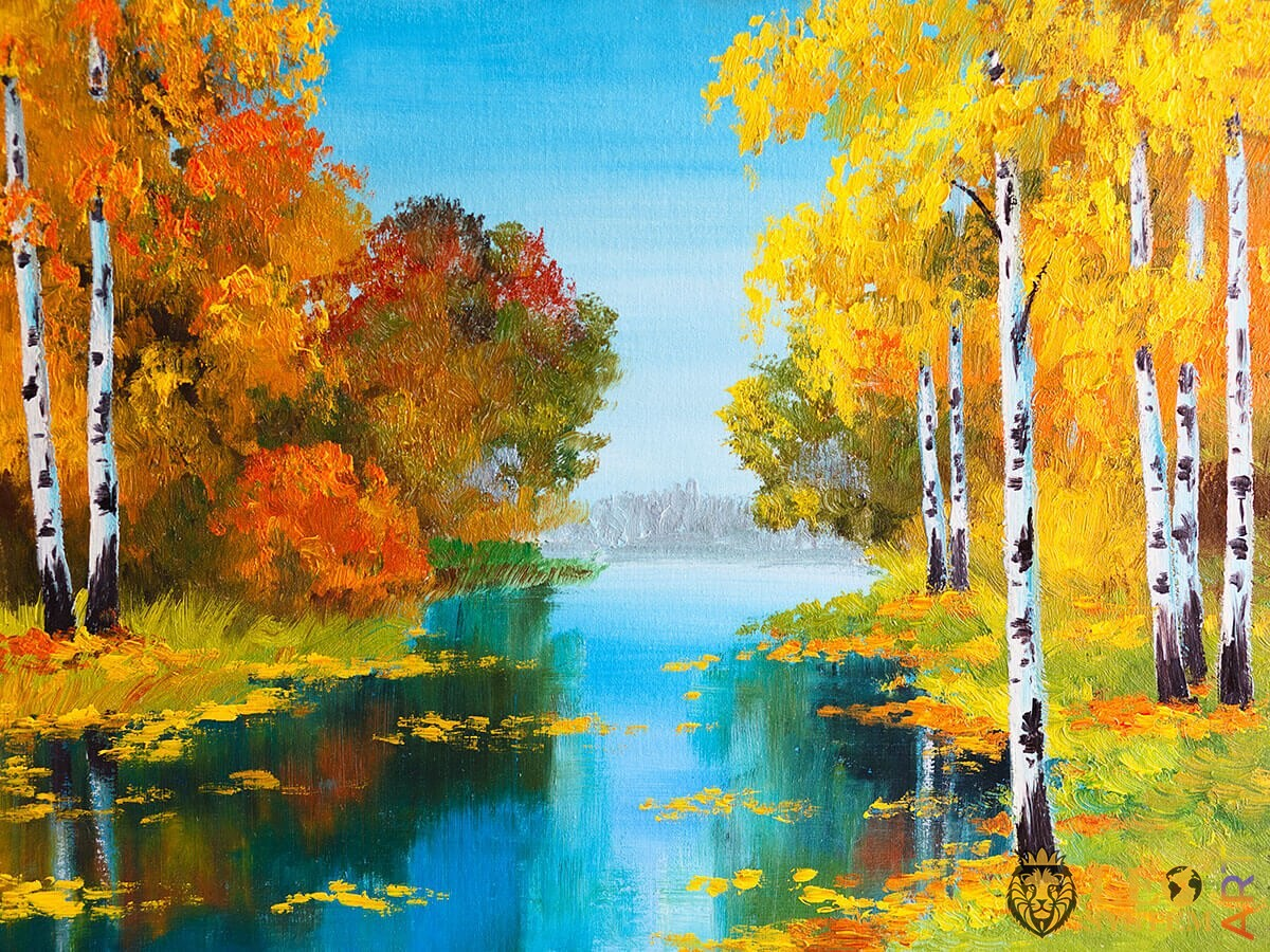 Forest with trees and river, oil painting