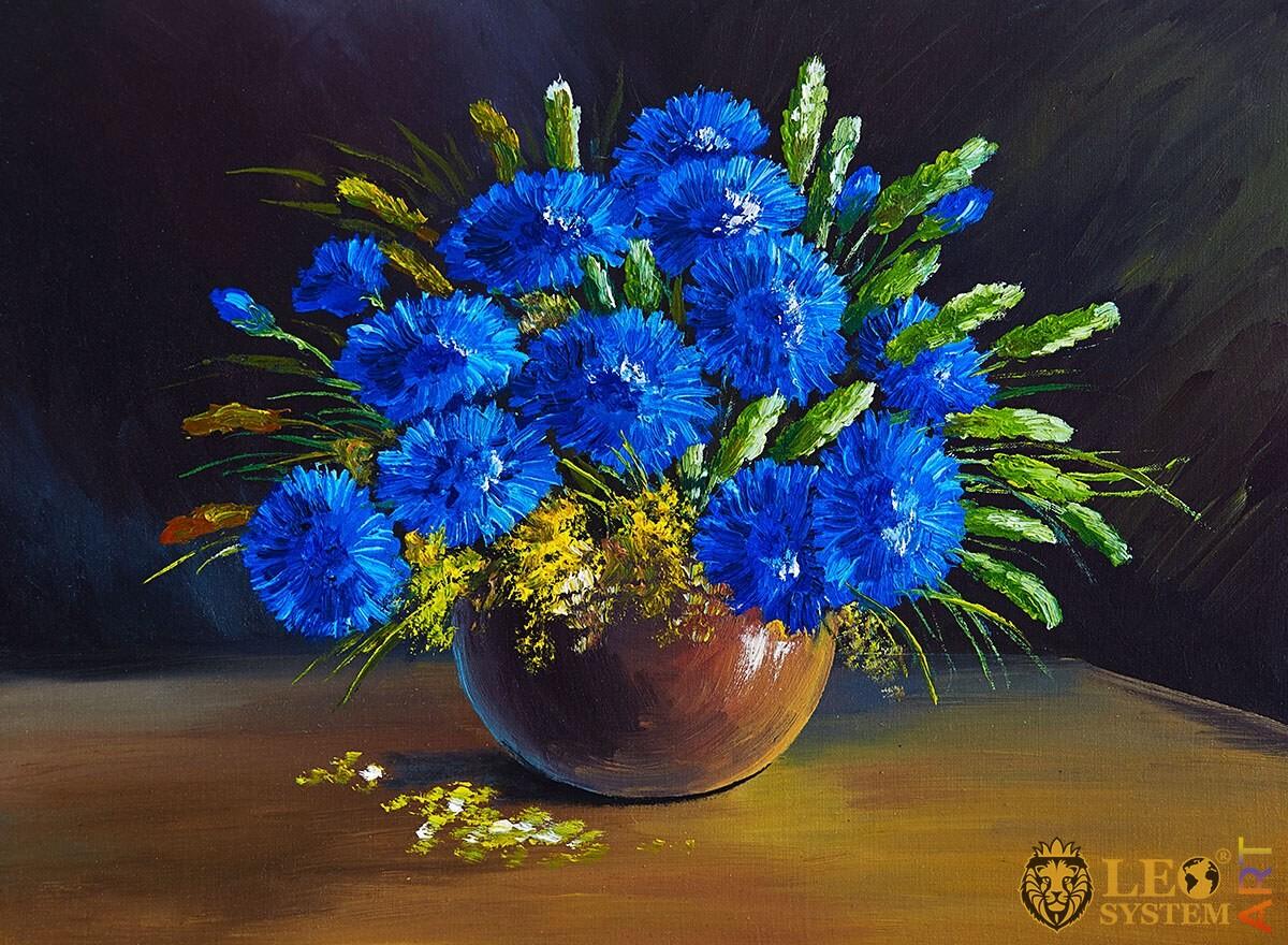 Oil painting blue wildflowers
