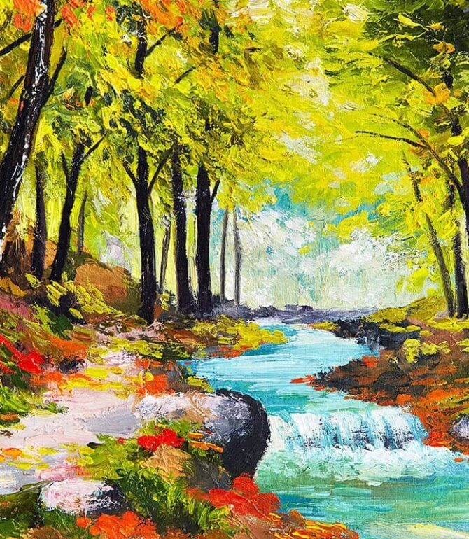 Paintings with Running Streams in the Forest