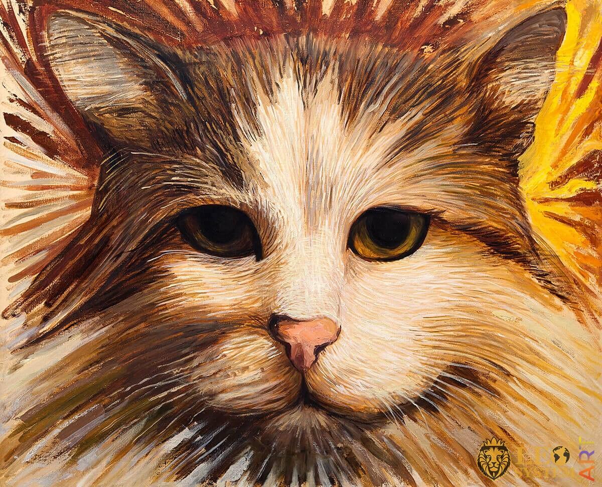 Painting cute cat face close up