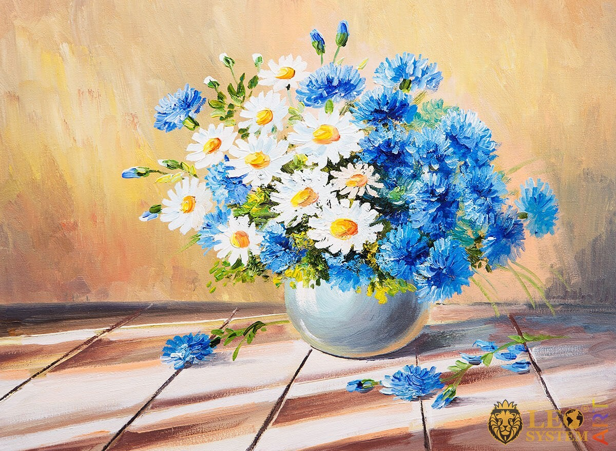 Painting bouquet of spring daisies