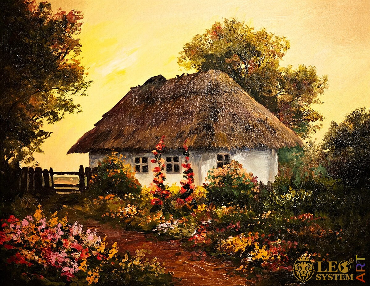 Painting with a rural house in the village, bright sunset