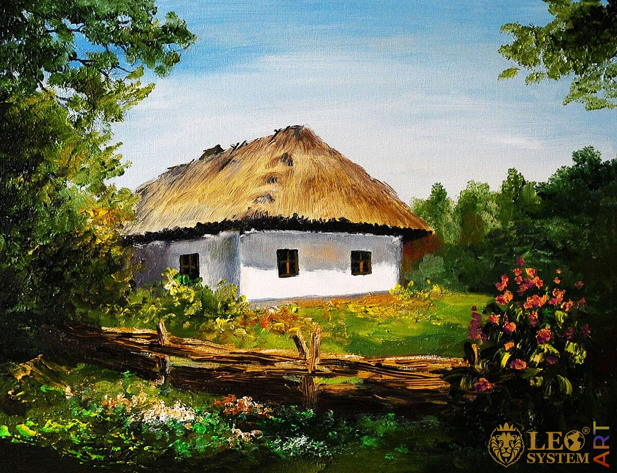 Rural house in the village, nature and flowers, original painting