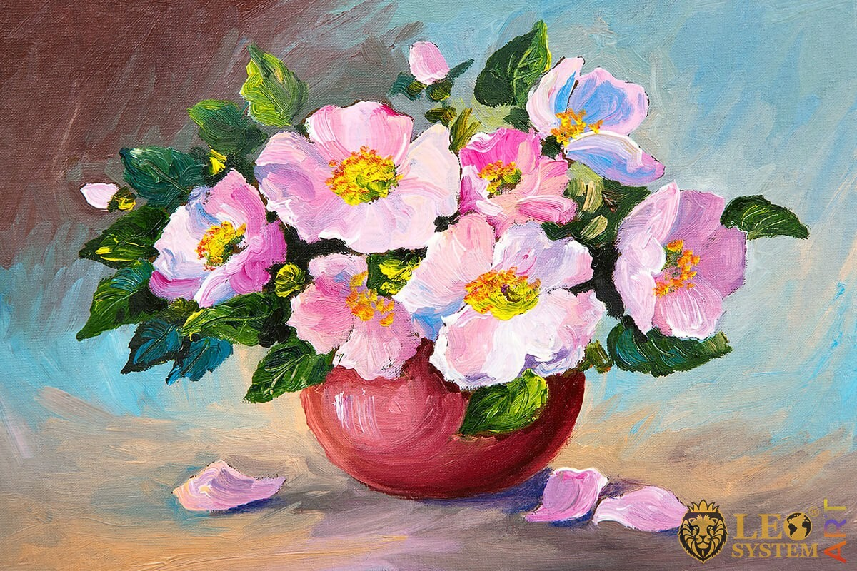 Oil painting on canvas wild roses in a vase