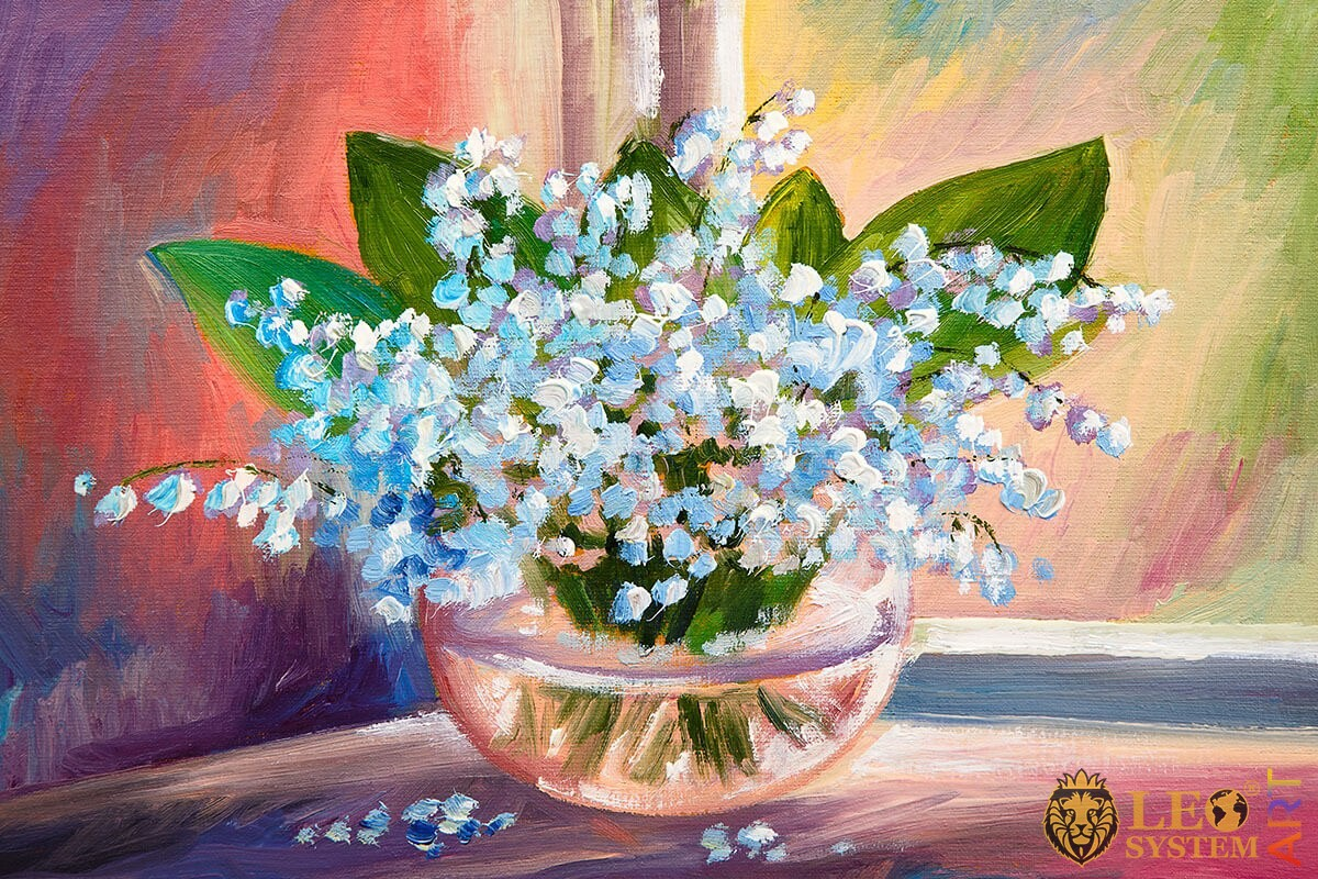 Oil painting blue and purple flowers in a vase