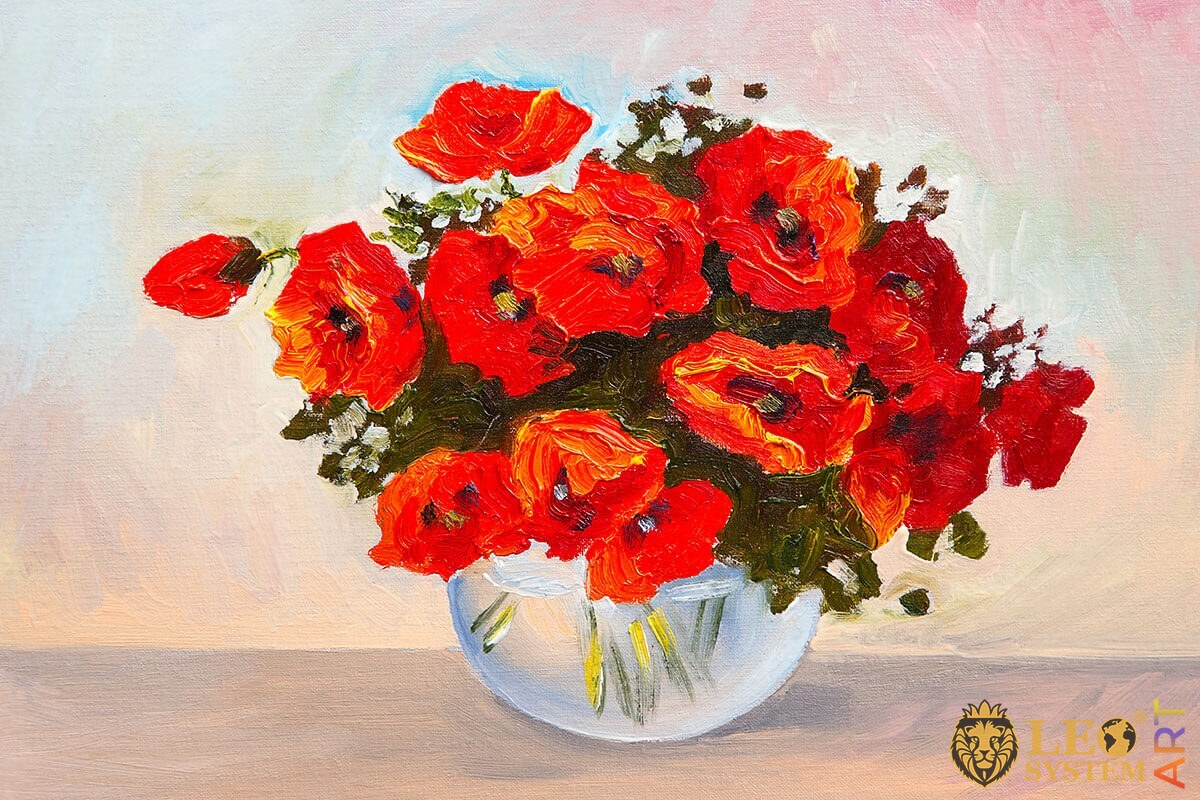 Oil painting bouquet of red poppies in a vase