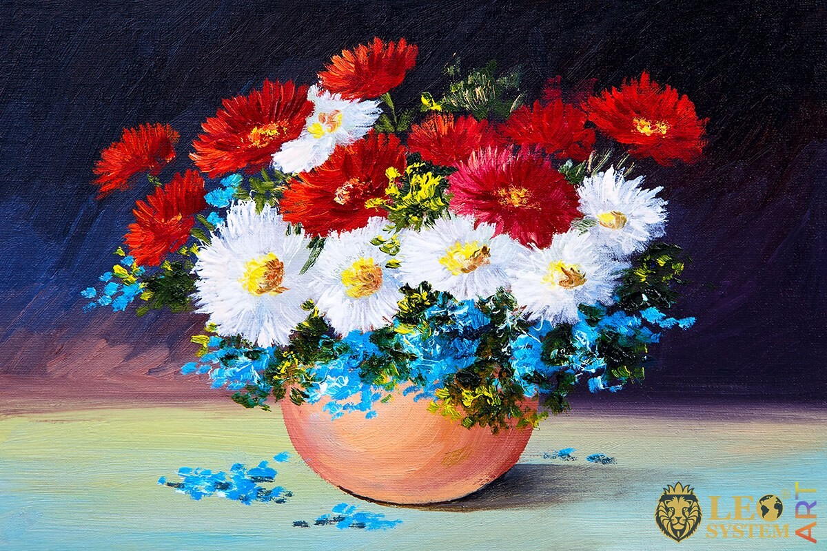 Oil painting bouquet of different spring flowers