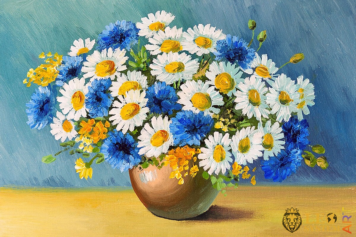 Gorgeous oil painting bouquet of spring flowers