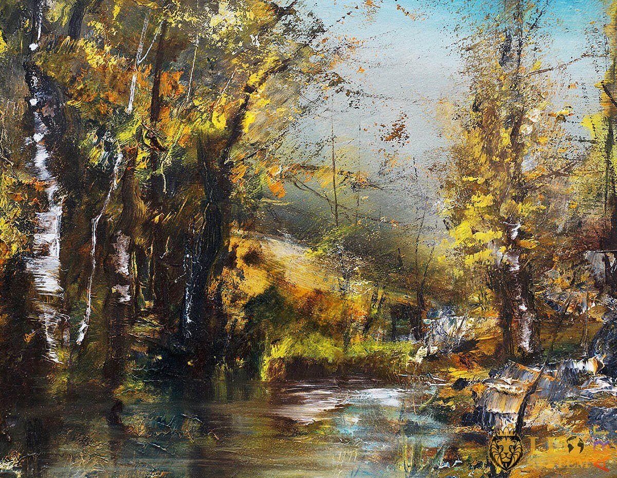 Original painting with trees and a stream in the forest