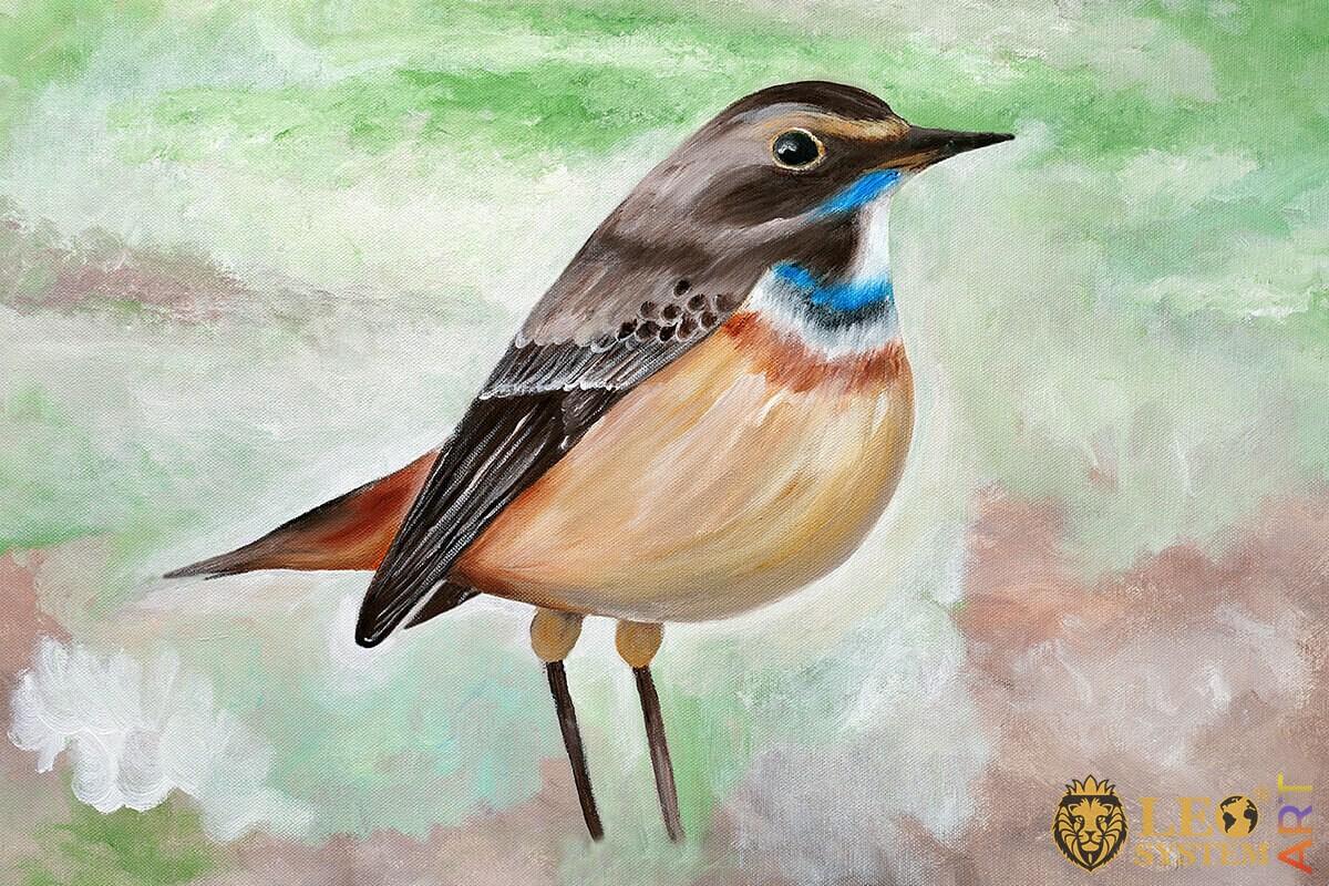 Painting of pretty Bluethroat bird