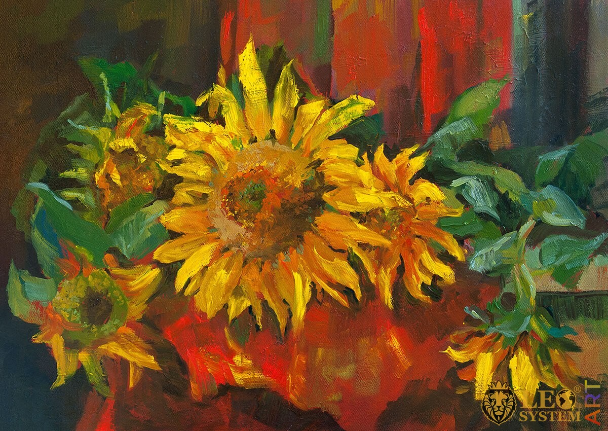 Painting with sunflowers and green leaves