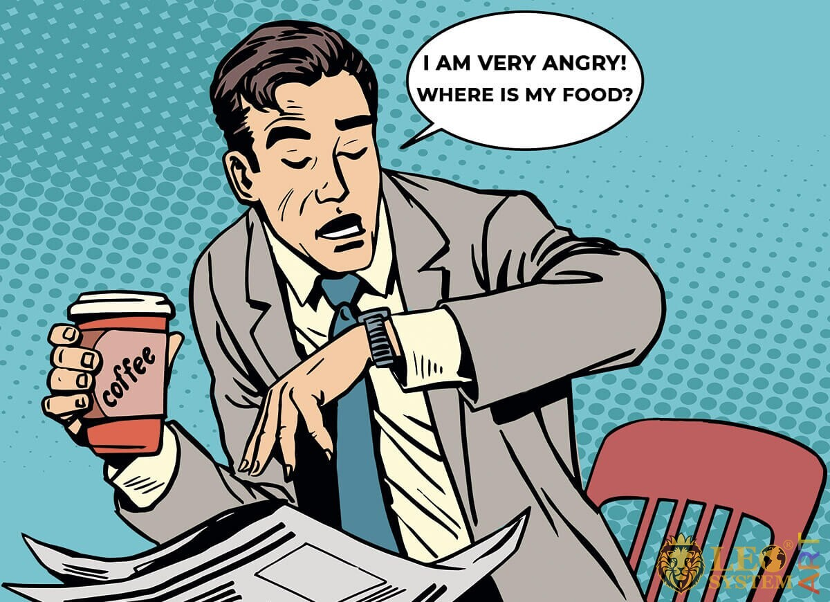 Illustration of a man not having time to eat