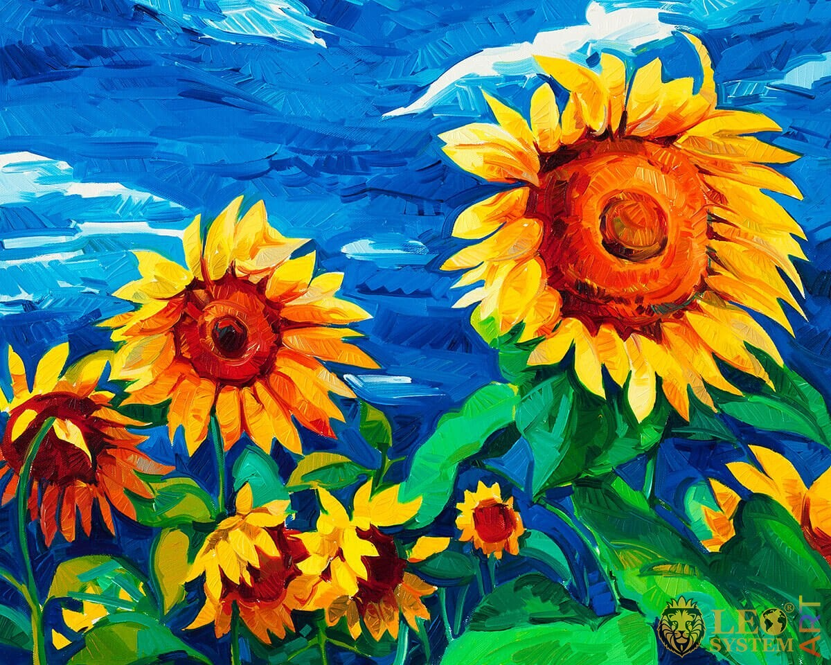 Painting with stunning sunflowers against the sky