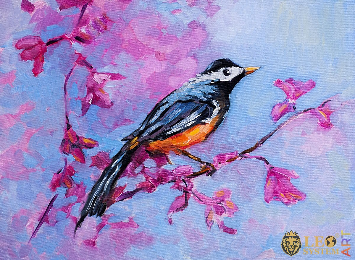 Painting with a beautiful bird