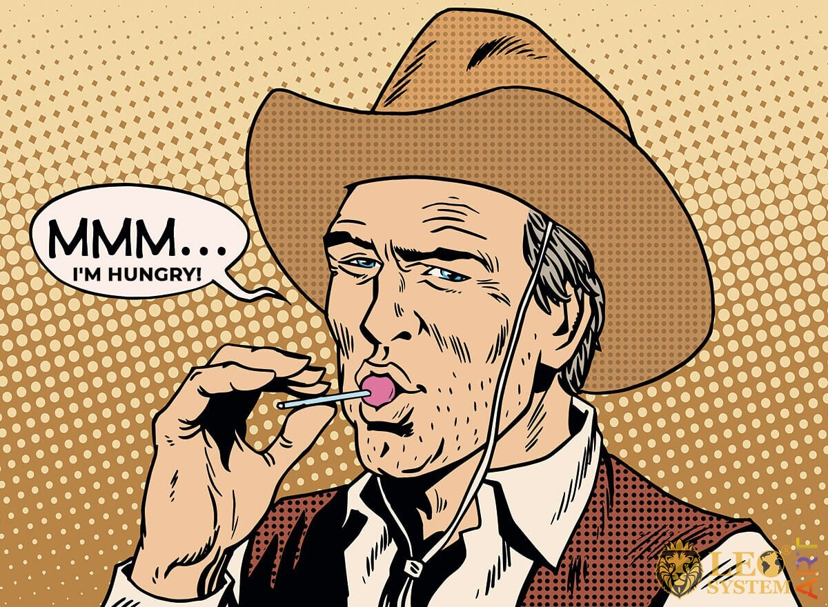 Hungry cowboy sucking candy