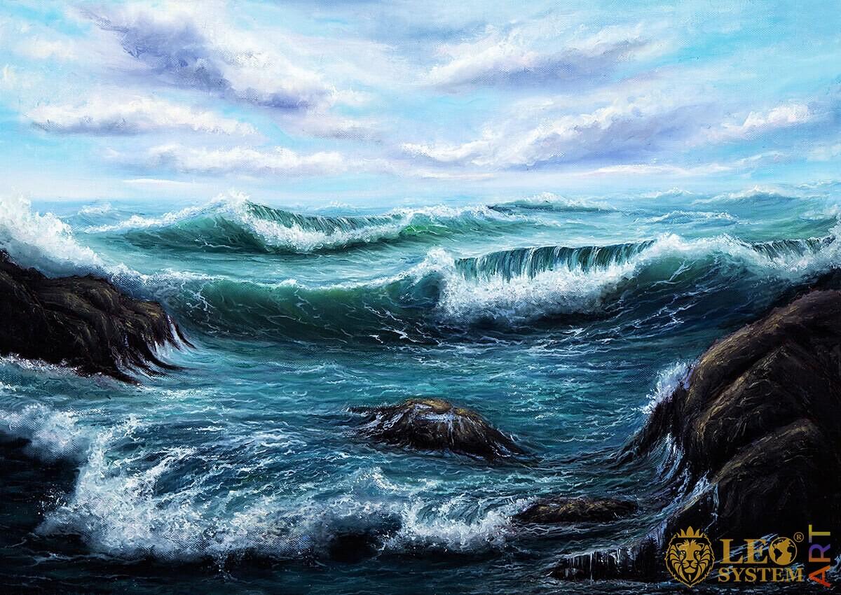 Raging waves hitting stones, original oil painting