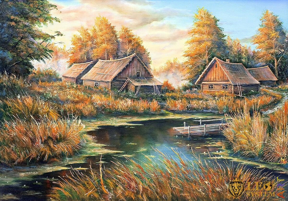 Rural houses and countryside nature, original painting