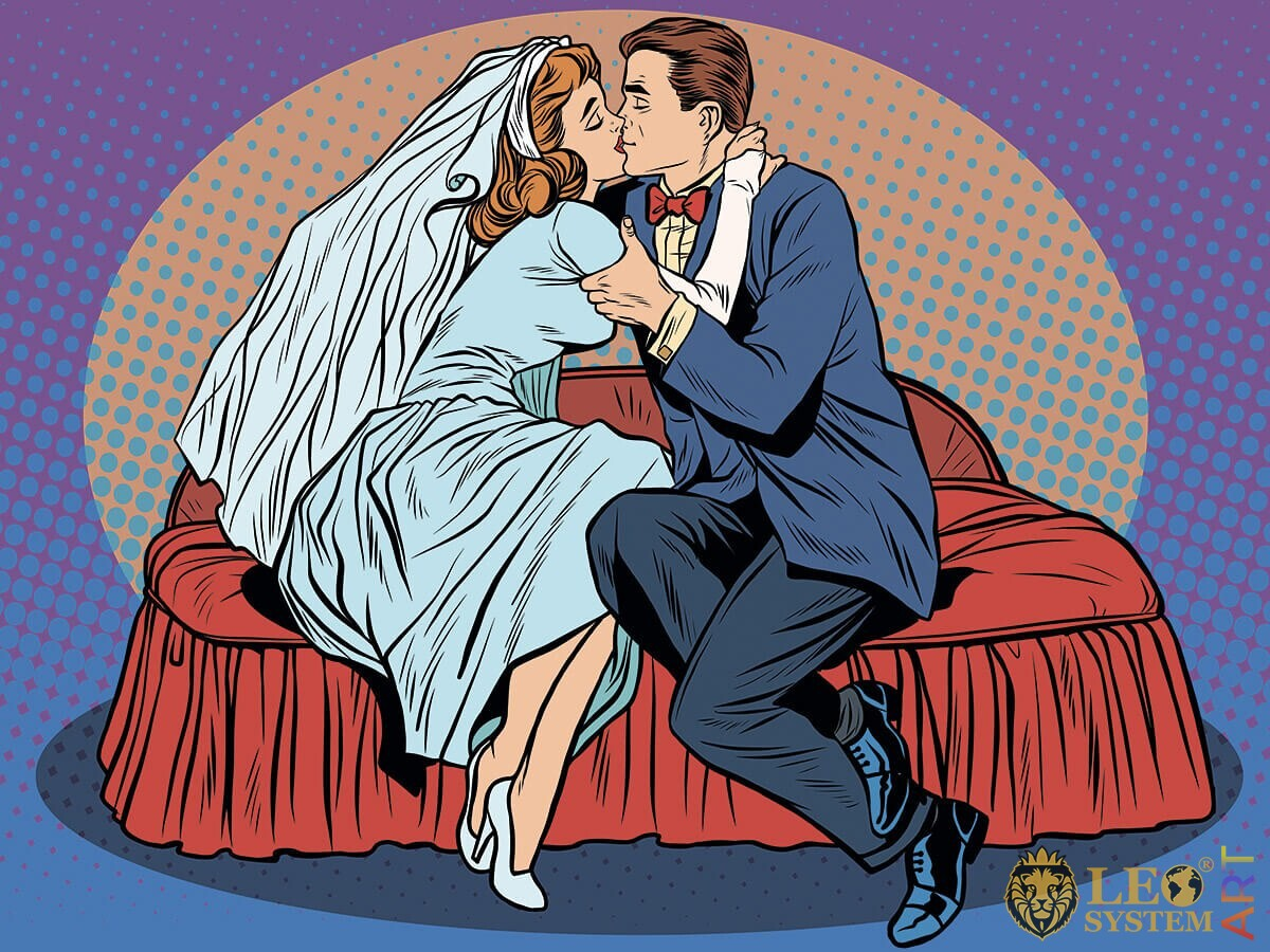 Illustration of tender embraces of newlyweds