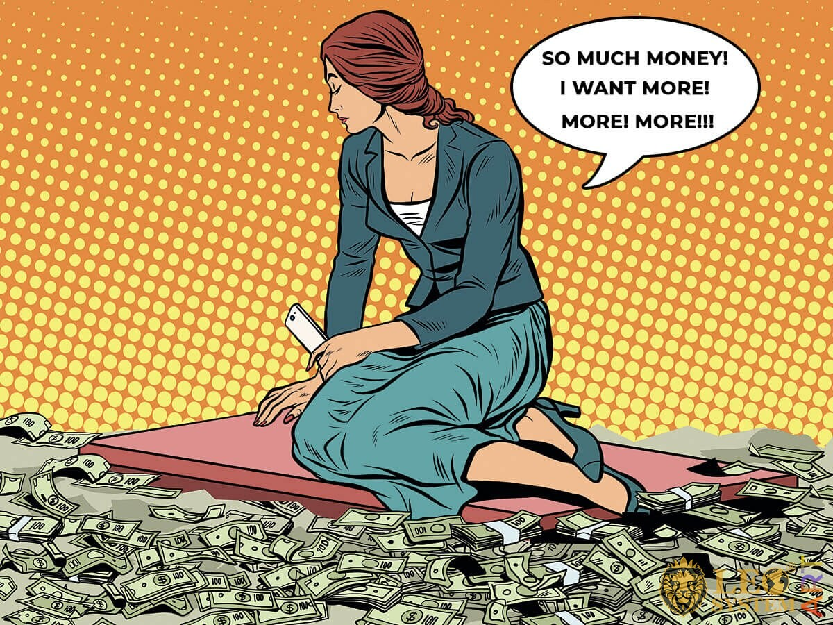 Picture of a greedy woman sitting on a floor strewn with money