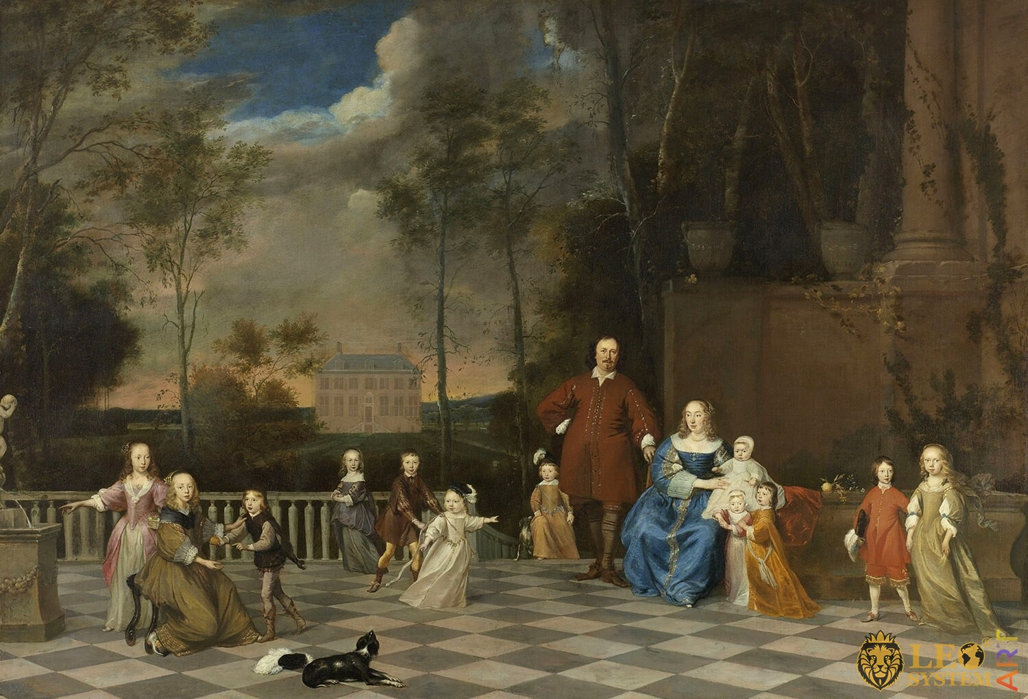 Amsterdam Merchant Jeremias van Collen with his Wife and their Twelve Children, Artist: Attributed to Pieter van Anraedt, 1655-1657, Amsterdam, Netherlands, Original painting