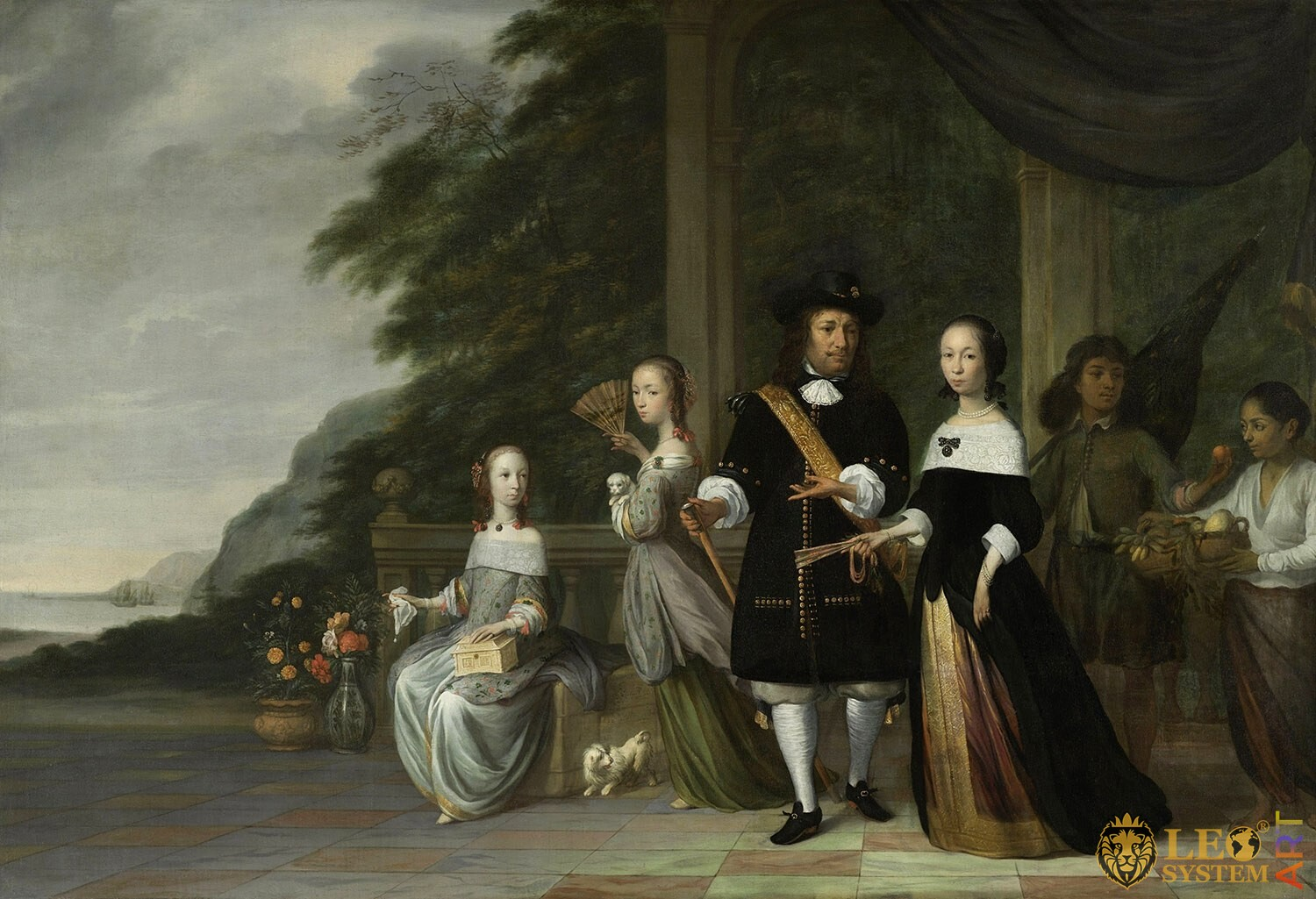 Pieter Cnoll, Cornelia van Nijenrode and their Daughters, Artist: Jacob Jansz. Coeman, 1665, Amsterdam, Netherlands, Original painting
