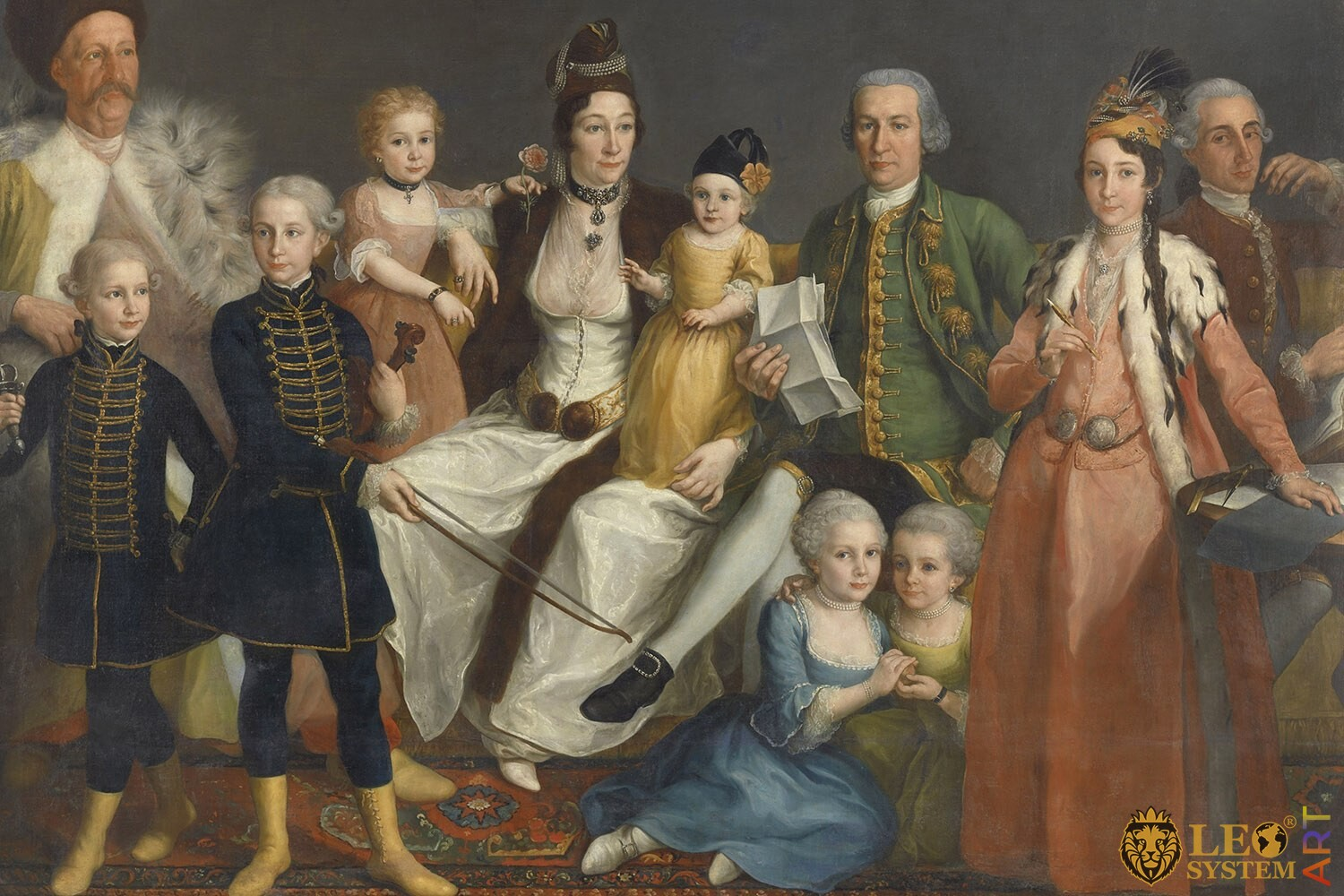 David George van Lennep, Senior Merchant of the Dutch Factory at Smyrna, and his Wife and Children, Original painting