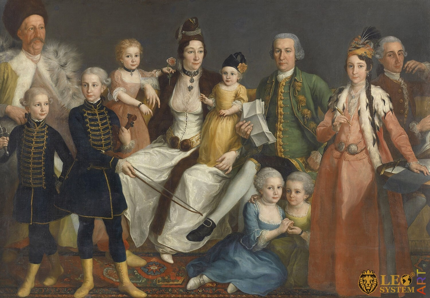 David George van Lennep, Senior Merchant of the Dutch Factory at Smyrna, and his Wife and Children, Artist: Antoine de Favray, 1769-1771, Amsterdam, Netherlands, Original painting