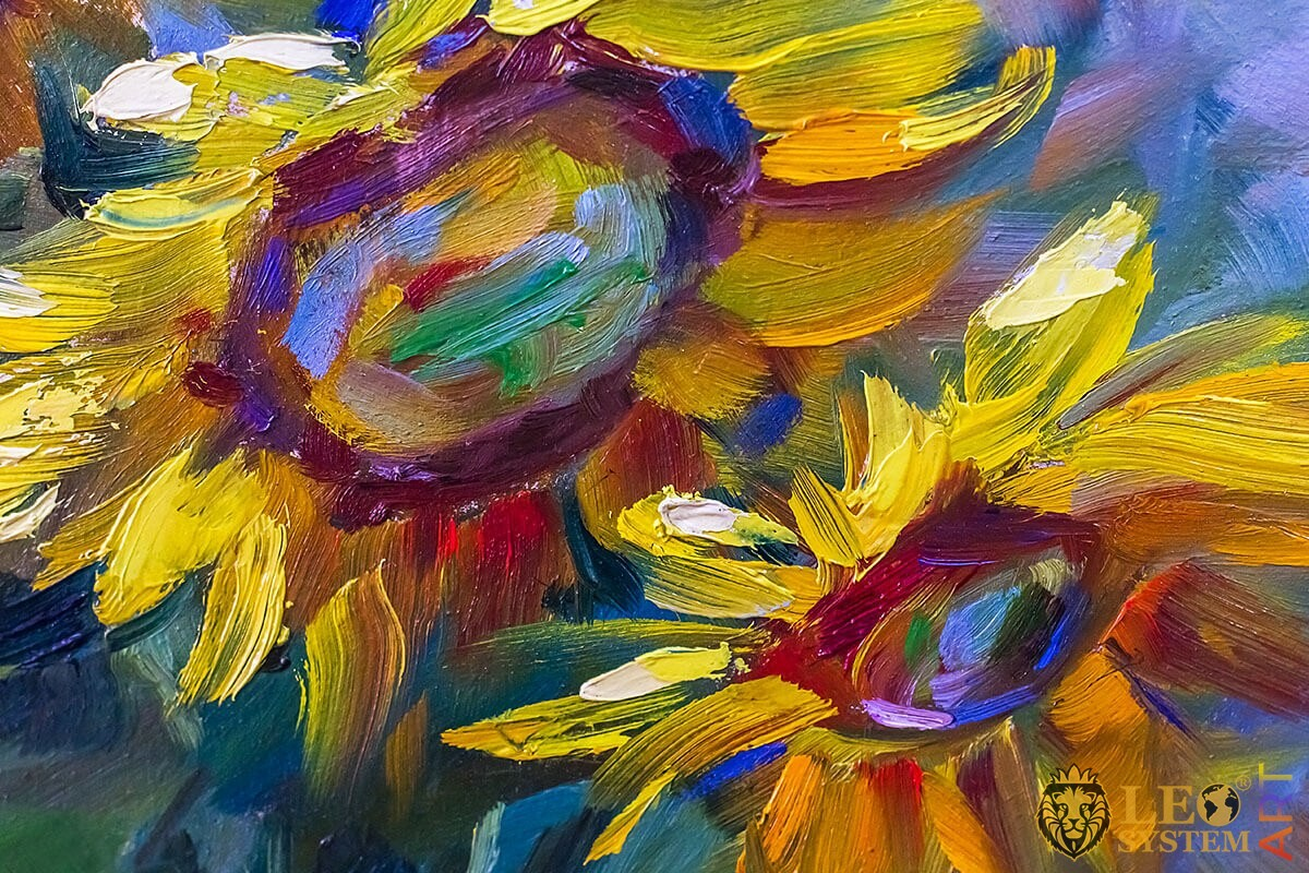 Oil painting two beautiful sunflowers