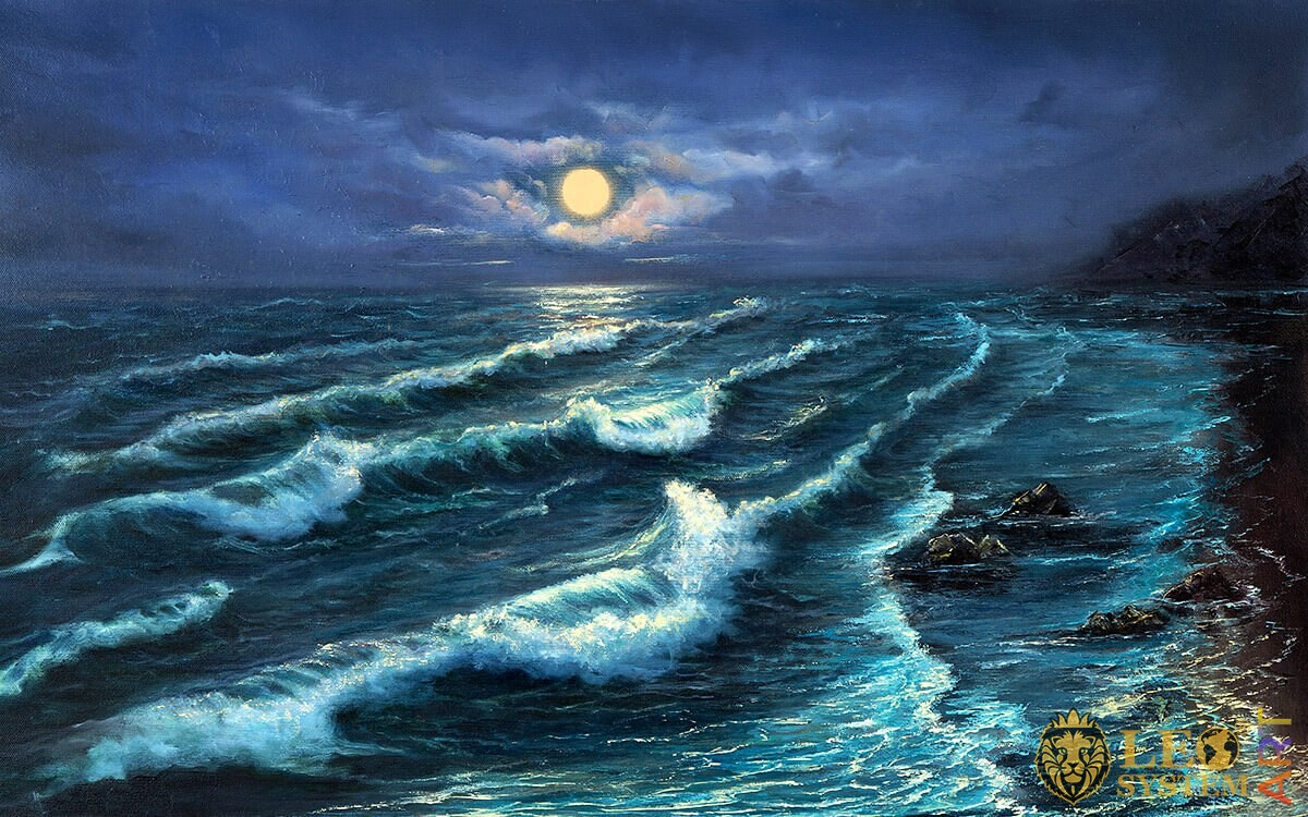 Painting with a night view of the waves and a round moon
